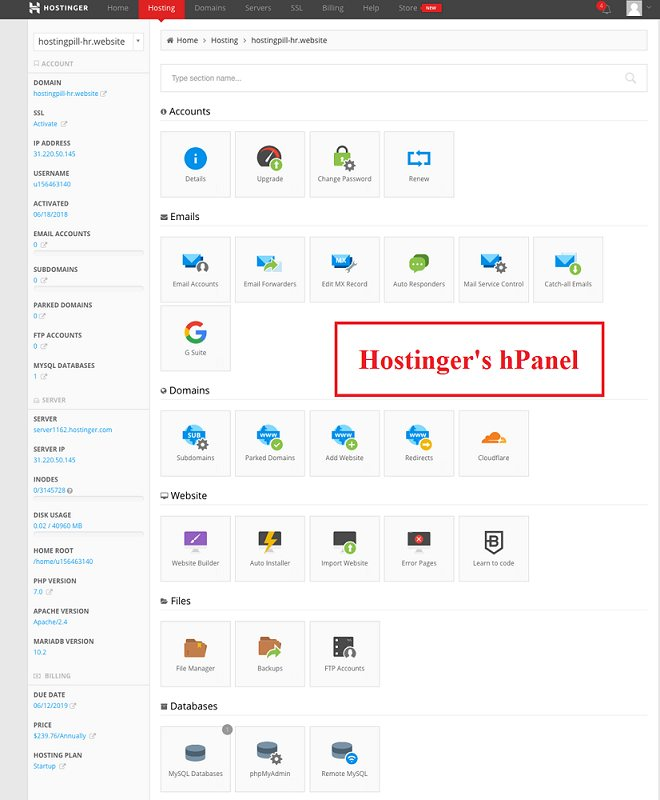 hostinger hPanel new