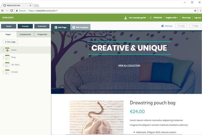 One.com website builder