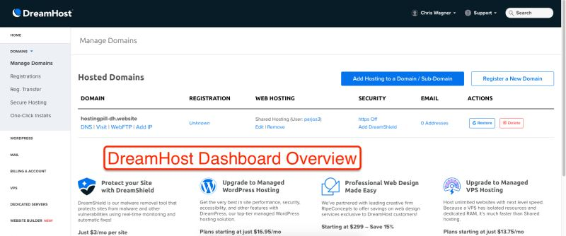 DreamHost Dashboard Overview