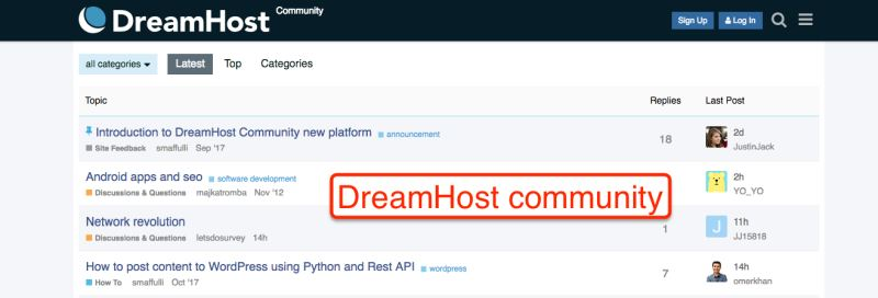 DreamHost community
