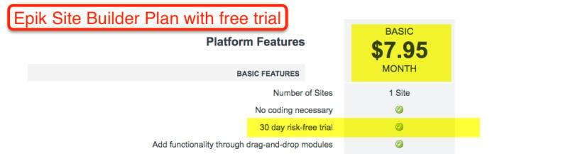 Epik Plan de Site Builder con prueba gratuita