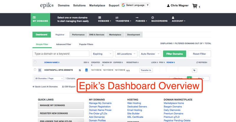 Epik's Dashboard Overview