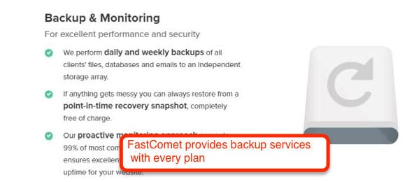FastComet provides backup services_ with every plan