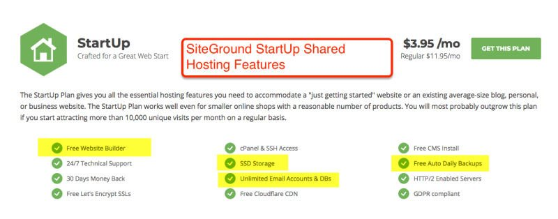 SiteGround StartUp Shared _Hosting Features