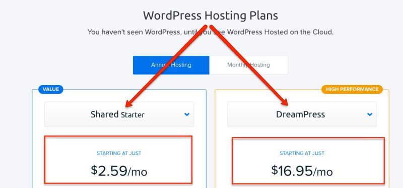 dreamhost wordpress plans