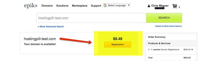 epic domain price