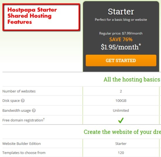 hostpapa starter shared hosting