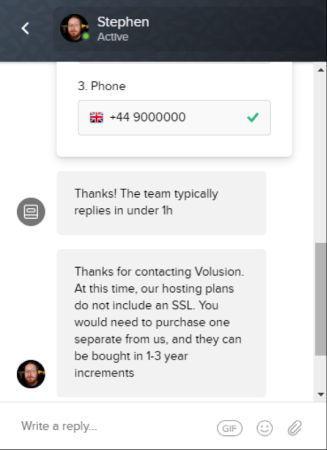 volusion chat 2 for squarespace