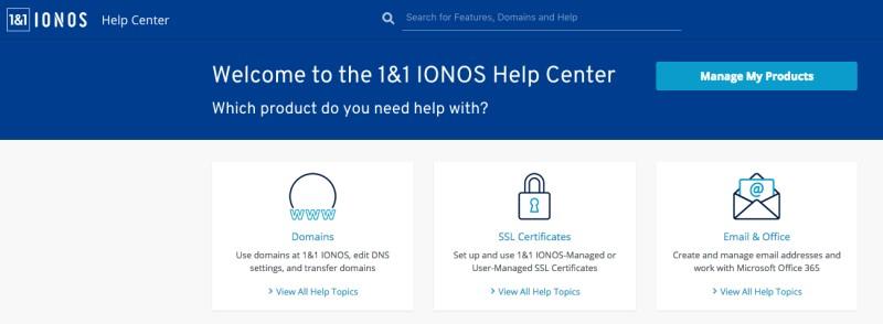 1&1 ionos help center
