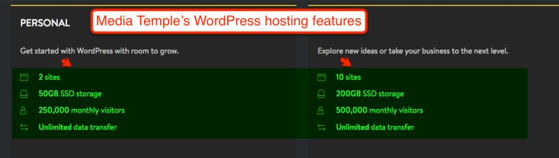 Media Temple's WordPress hosting features
