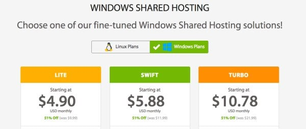 a2 hosting window shared hosting plans