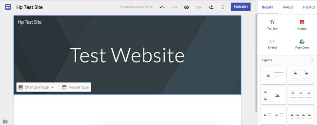 Google sites interface