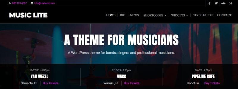 Musiclite wordpress theme