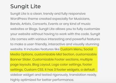 Sungit-lite features