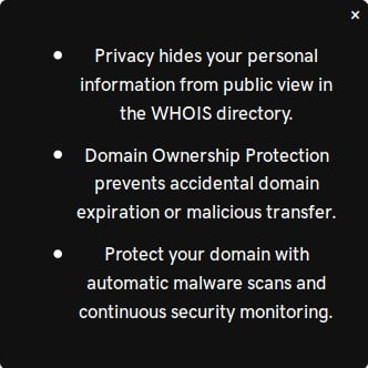 godaddy domain full privacy
