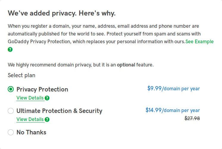 godaddy domain privacy