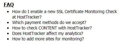 Host Tracker FAQ