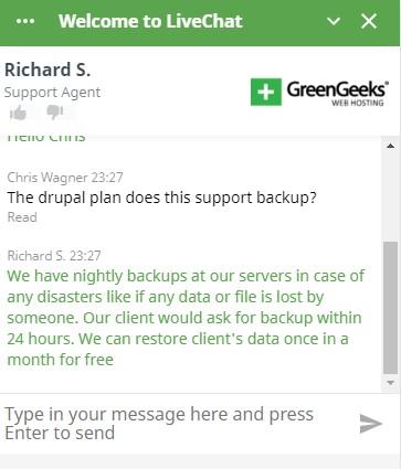 GreenGeeks Chat en vivo