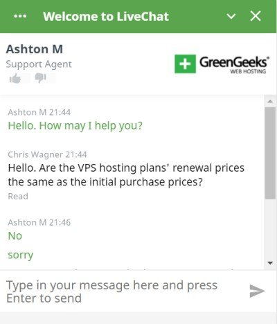 greengeeks chat