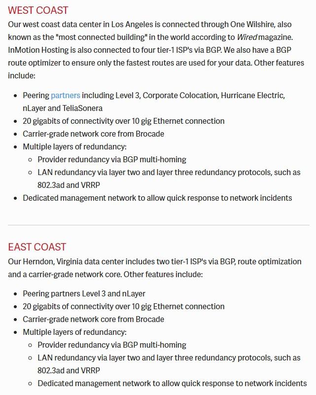 inmotion west-east coast datacenters