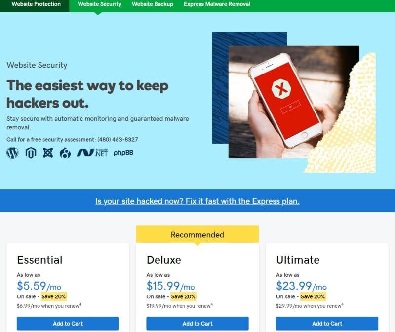 godaddy buy website security