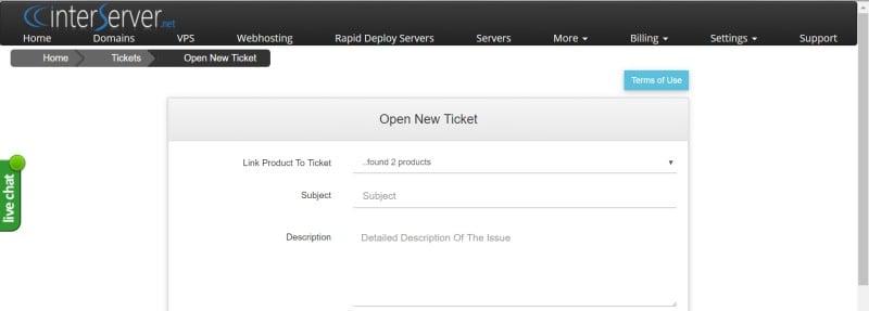 interserver ticket page