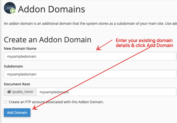 Greengeeks Enter Addon DomainDetails