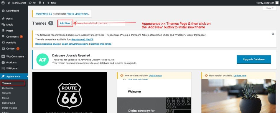 Manage Themes WordPress