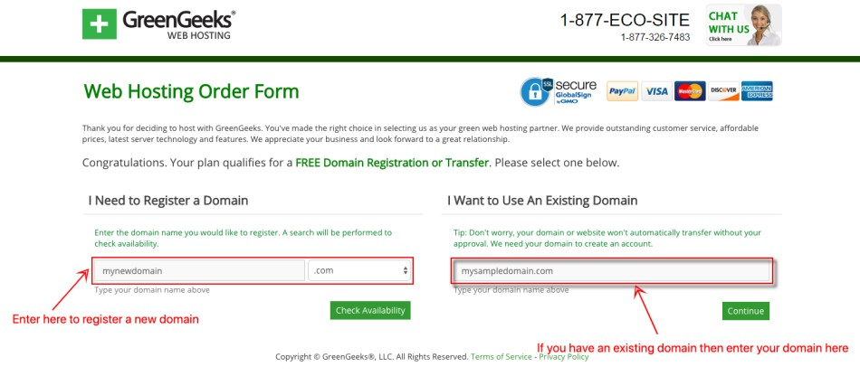 GreenGeeks RegisterDomain