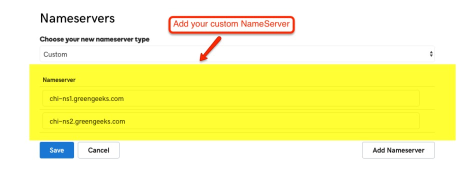 Setup GreenGeeks namesearver in Godaddy