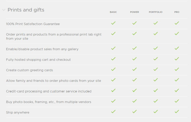 SmugMug  plans prints and shipping