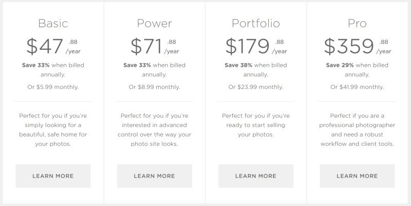 SmugMug  prices