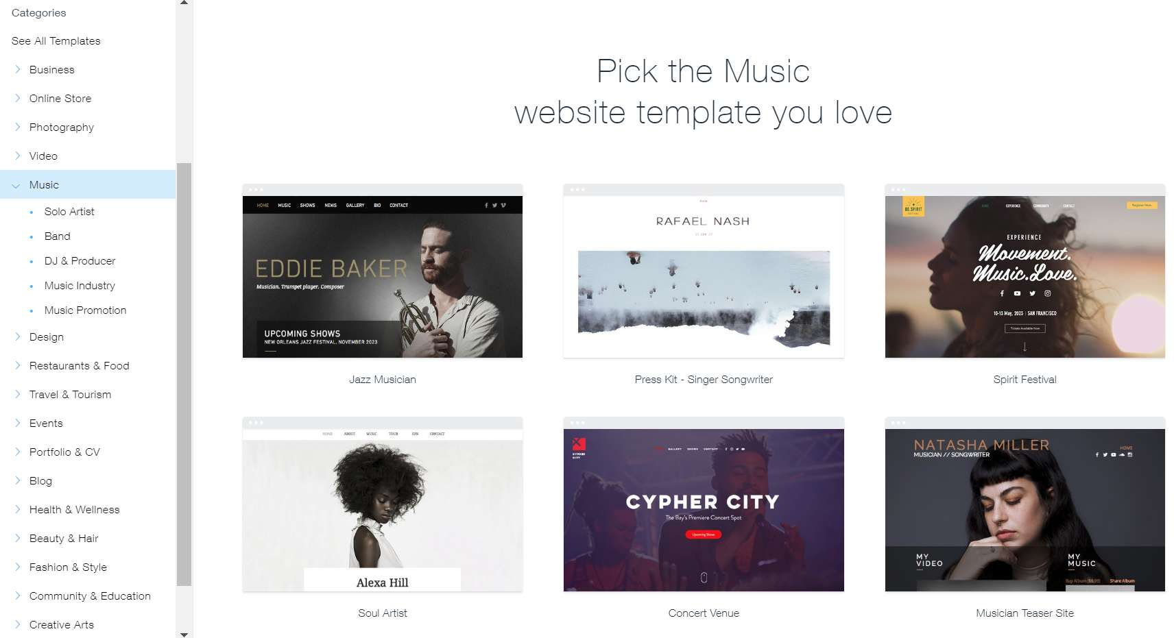 builders for musicians-wix-templates