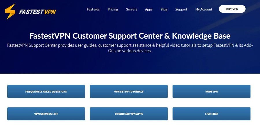 fastestvpn Customer Support page
