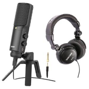 Micrófono con auriculares