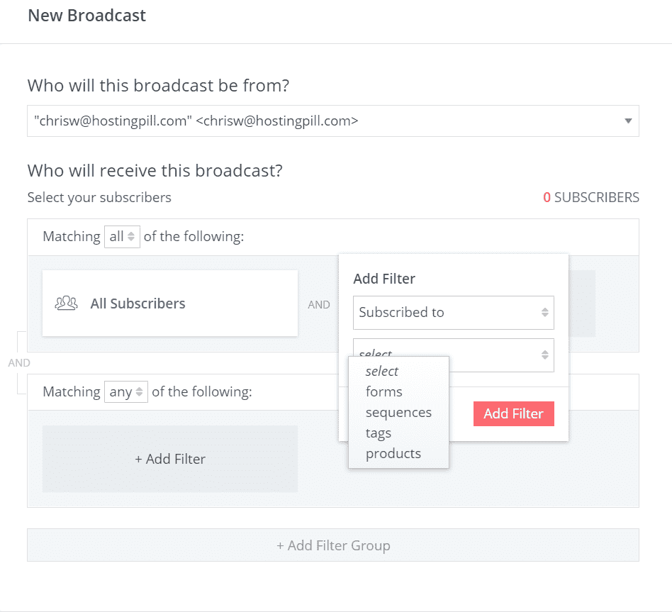 converkit features broadcasts