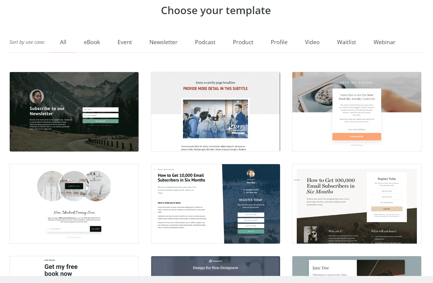 convertkit features template