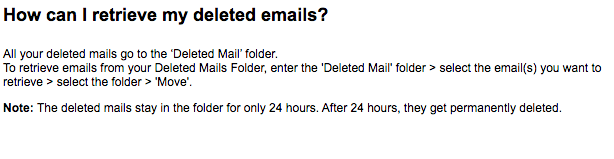 Retrieve Deleted Mail