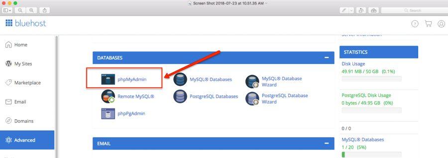 1. phpmyadmin to download database