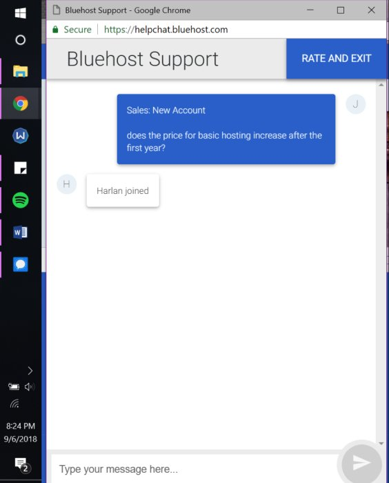BlueHost chat 1