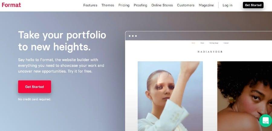 Format portfolio website
