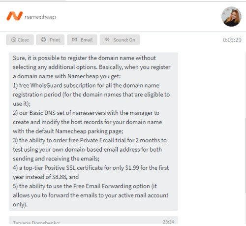 Namecheap chat