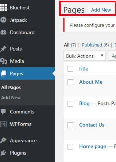 WordPress options