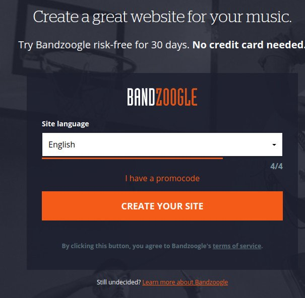 bandzoogle create music website