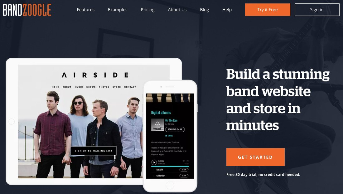 bandzoogle create website