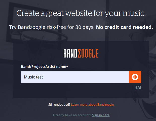 bandzoogle create account