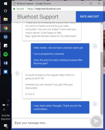 bluehost support chat 3