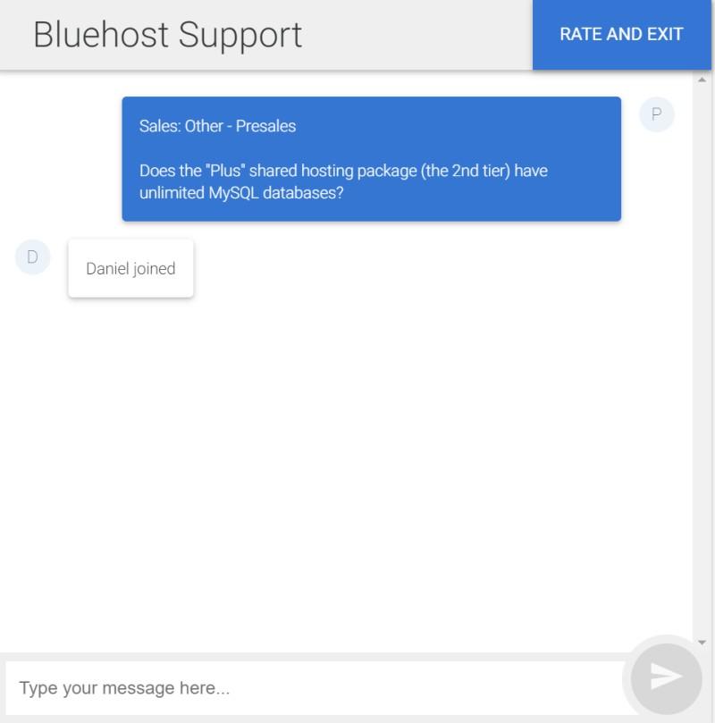 chat de bluehost