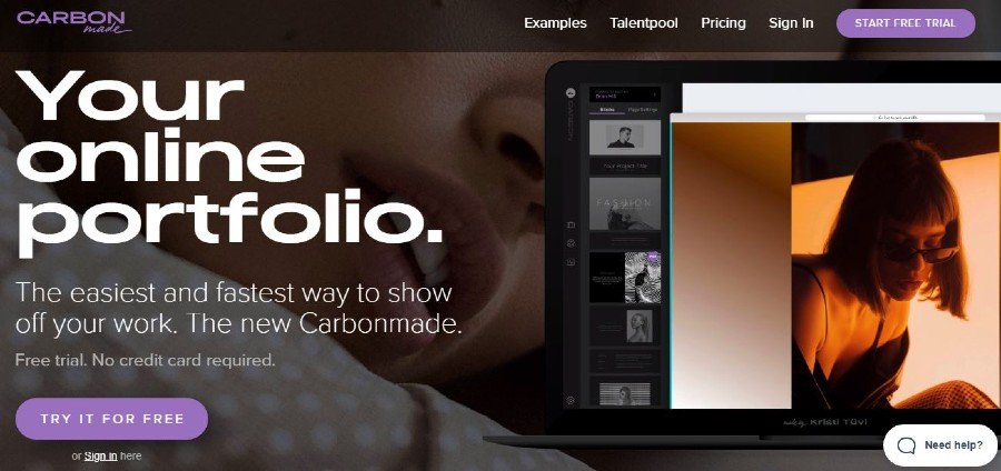 carbon made portfolio website