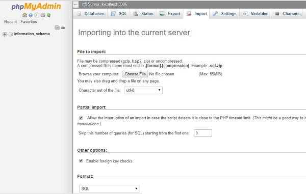 phpmyadmin for import database on namecheap